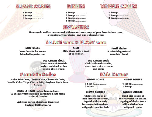 UMMM Ice Cream Parlor Menu